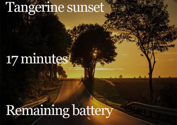 Tangerine sunset 17 minutes Remaining battery